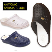 Ladies Womens Nurse Kitchen Casual Wedge Heel Mule Clogs Shoes Heeled  Sandals