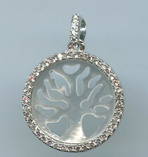 925 STERLING SILVER, MOTHER OF PEARL & CZ  TREE OF LIFE PENDANT