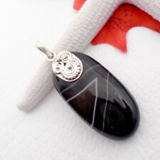 Botswana Achat schwarz weiß black white Amulett Anhänger, 925 Sterling Silber
