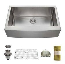 Zuhne 33 Inch Farmhouse Apron Single Bowl 16 Gauge Stainless Steel Kitchen Sink