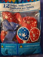 "24 pc 12"" Patriotic Stars Latex Balloons Veterans Day Flag Memorial 4th of July"