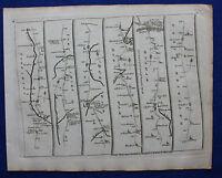Original antique road map, DURHAM, NEWCASTLE, NORTHUMBERLAND, John Senex  1757