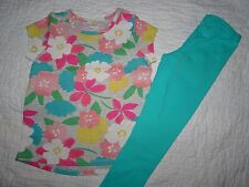 NWT GYMBOREE MIX N MATCH SET SIZE XS 4 4T FLORAL TEE TOP COLORFUL LEGGINGS POPPY