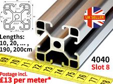 4040 Aluminium Extrusion Profile V-SLOT - Lengths 10, 20 ... 190, 200cm - Slot 8