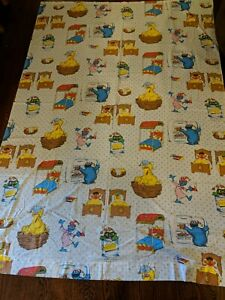 Vtg Sesame Street Twin Flat Sheet GOOD NIGHT Bedtime Cookie Monster Ernie Muppet