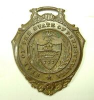 Vintage Seal of the State of Pennsylvania Watch Fob 14K Gold Plated on Bronze