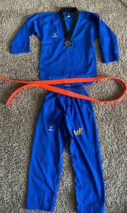 Vision Taekwondo Performance Martial Arts Uniform Set BLUE Sz 2/160 Orange Belt