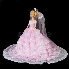 Pink Princess Strapless Gown Bridal Wedding Party Dress for Barbie Dolls