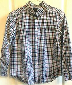 RALPH LAUREN Boys Shirt BLUE Red Green PLAID Long Sleeve Size M 10-12