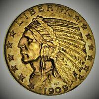 1909-D Half Eagle Indian Head Gold 5 Dollar Coin *972* V9