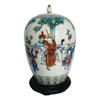 Satsuma Hand Painted Asian Ginger Jar Urn With Lid on Stand 14in Japanese Family