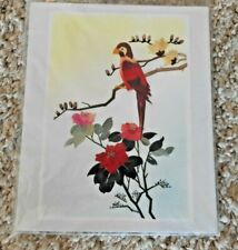 "Vintage Parakeet? Art Hand Cut and Painted Wheat Stalk on Silk 9"" X 11"""