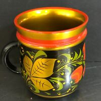 VTG Toleware Cup Mug Wooden Hand Painted Folk Art Russia Gold Black Red