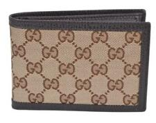 Gucci Men's Brown Canvas & leather Micro GG Guccissima Bi-fold Wallet 292534