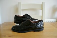 RUSSELL+BROMLEY BLACK PATENT LEATHER/LEATHER LINED OXFORD LACE-UP SHOES UK7 EU40