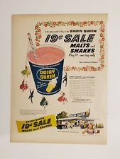 Original Vintage 1956 Dairy Queen 19 cent Shakes & Malts print ad