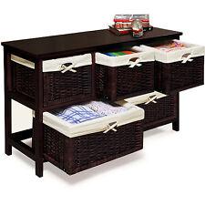 Badger Basket - Wooden Storage Cabinet with Wicker Baskets, Espresso