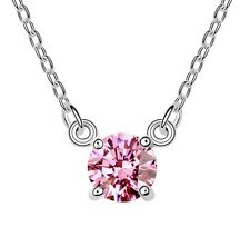 18K WHITE GOLD GP Made With SWAROVSKI CRYSTAL Basic Round Pink Color NECKLACE