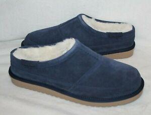 NIB UGG Koolaburra Men's Suede Fur Slip On Clog Slippers Blue