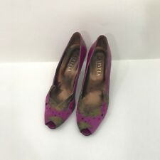 Carvela Kurt Geiger Purple Bronze Open Peep Toe Cut Out Suede High Heels 37.5
