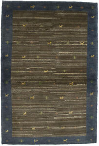 Brown & Blue Border Tribal Design 3X5 Gabbeh Oriental Rug Contemporary Carpet