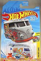 2018 Hot Wheels #353 HW Art Cars 8/10 VW KOOL KOMBI Gray w/Yell/Blu Wheels 5 Sp