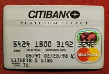 CITIBANK Platinum Select MasterCard credit card exp 1998♡free ship♡cc1100♡