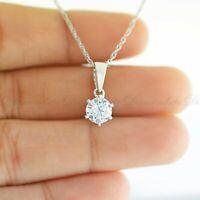 0.75 Ct Round-Cut DVVS1 Diamond Key Design Pendant 14K White Gold Finish