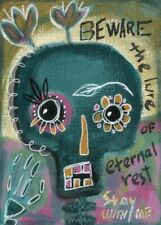 Day of the Dead Skull ACEO original acrylic painting miniature