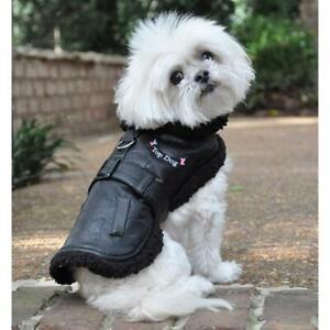Doggie Design Black Dog Flight Jacket with Matching Leash  XS-2XL