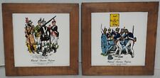 "2 Vintage Framed Historical American Uniforms 6"" Tiles Wood Frame Regimental"