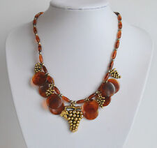 bib necklace gold tone grapes beads Vintage 60's faux amber swirl plastic discs