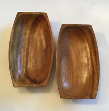 2 MidCentury Philippines Wood Forms Nut Candy Trinket Dishes National Silver Co