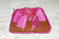 New Signature Pink Beaded Coin Purse Zippered Closure Gorgeous Lipstick Design