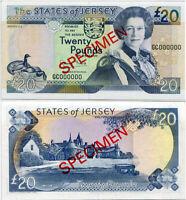 JERSEY 20 POUNDS 1993 P 23 SPECIMEN QE II UNC