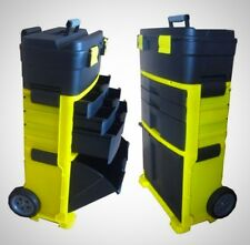 3 Compartments Cart Toolbox Storage Plastic Chest Trolley Black and Yellow