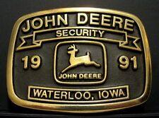 John Deere Security Belt Buckle 1991 Waterloo Plants Limited Ed #43 Anacortes jd