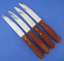 Set of 4 Steak Knives Knife Wood Handle Serrated Stainless Blade Brazil