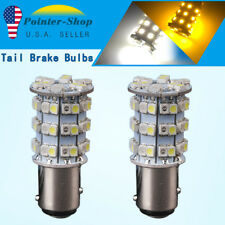 2x White/Amber Switchback 1157 BAY15D 60-SMD LED Lamps Tail Brake Stop 2057 7528