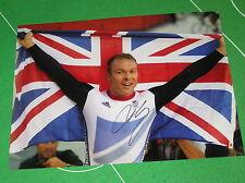 Sir Chris Hoy Signed Giant London 2012 Olympic Velodrome Celebration Photograph