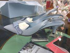 NIB Prada Logo Bow Leather Slingback Pump Low Heel Shoes Blue Size 37.5  $750