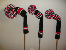 Hand Knit Golf Club Covers- Vintage Style with Pom Poms- Black-Red-White