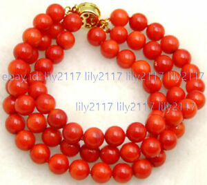 "3 Strands Fine 6mm Natural Red Coral Round Gems Beads Bracelet 7.5"" 14k clasp"