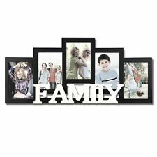 Hanging Wall Decor Family Picture Frame Photo Collage Wood Home Black and White