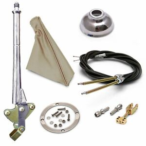 16 Trans Mnt Emergency Hand Brake  Tan Boot, Silver Ring, Cap and Cable Kit