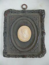 Single Plaster Intaglio Framed in a Black Victorian French Rococo Style Frame