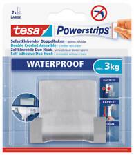 tesa Powerstrips selbstklebener Doppelhaken waterproof, Edelstahl, bis max. 3kg