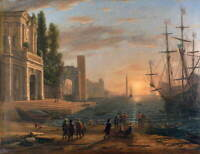 Claude Lorrain A Seaport Poster Reproduction Paintings Giclee Canvas Print