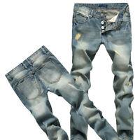 Men's Distress Light Blue Straight Slim Biker Jeans Pants Skinny Denim Trousers
