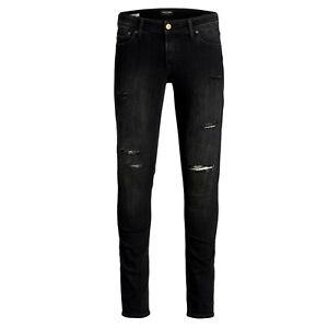 Jack & Jones Intelligence Liam skinny fit ripped jeans in black denim W34 L32